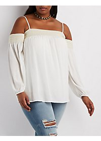 Plus Size Crochet-Trim Off-the-Shoulder Top