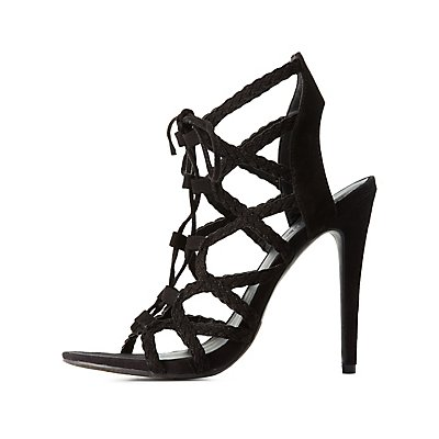 Braided Lace-Up Caged Sandals