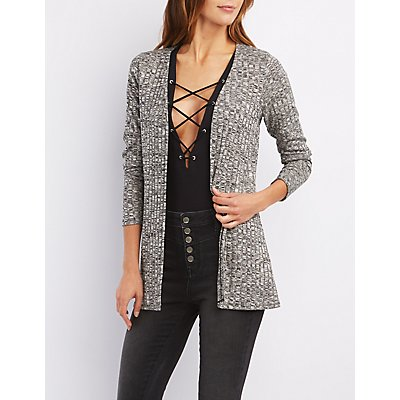 Marled Open Front Cardigan