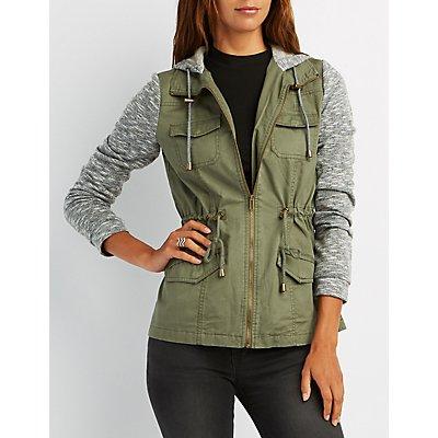Marled-Trim Anorak Jacket