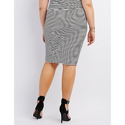 Plus Size Striped Midi Pencil Skirt