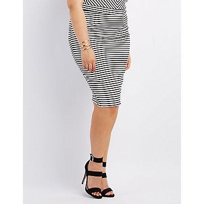 Plus Size Striped Midi Pencil Skirt