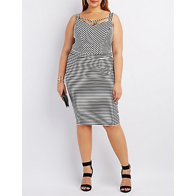Plus Size Striped Strappy Crop Top