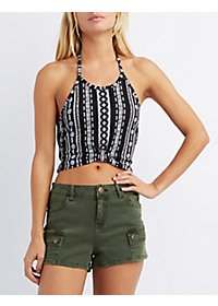 Bib Neck Halter Crop Top