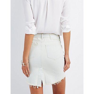 Destroyed Denim Pencil Skirt