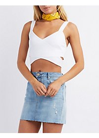 Wrap Front Cut-Out Cropped Tank