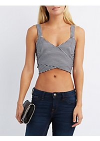 Striped Wrap Cut-Out Cropped Tank