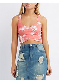Printed Wrap Cut-Out Cropped Tank