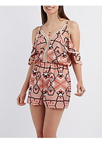 Crochet-Trim Printed Romper