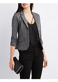 Notched Lapel Button Front Blazer