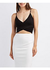 Strappy Wrap Front Crop Top