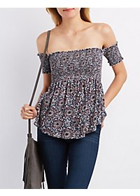 Shirred Off-the-Shoulder Top