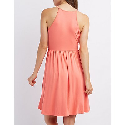 Bib Neck Babydoll Dress