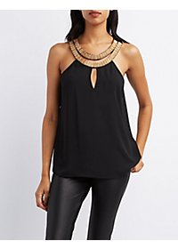 Chain Neck Keyhole Top