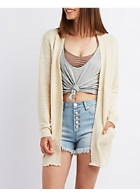 Nubby Long Pocket Cardigan Sweater