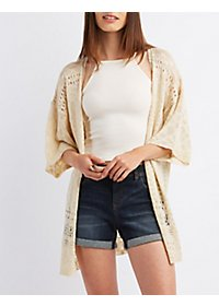 Short Sleeve Pointelle Cardigan Sweater