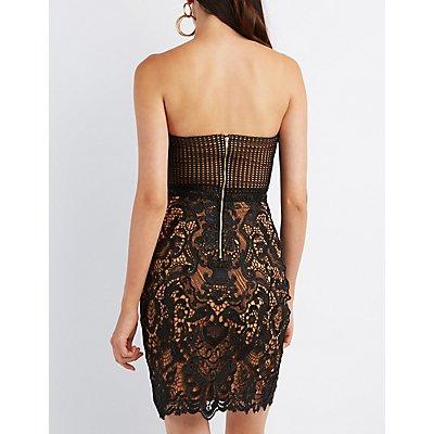Lace Strapless Midi Dress