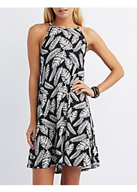 Bib Neck Printed Dress