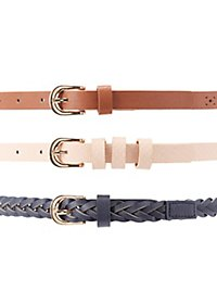 Braided, Perforated, & Textured Belts - 3 Pack