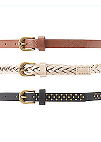 Studded, Braided, & Textured Belts - 3 Pack