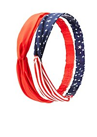 American Flag & Solid Head Wraps - 2 Pack
