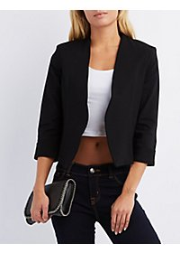Cropped Collarless Blazer