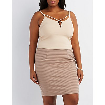 Plus Size Strappy Notched Tank Top