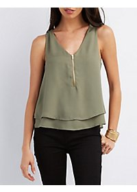 Layered Zip-Up Tank Top