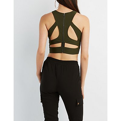Caged Back Cropped Tank