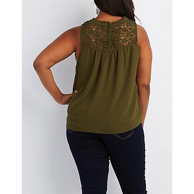Plus Size Crochet Yoke Tank Top