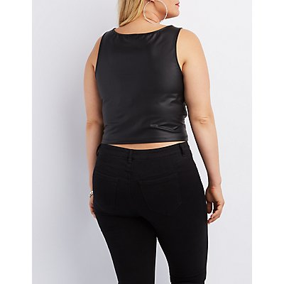 Plus Size Faux Leather Crop Top