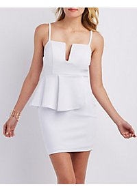 Notched Peplum Dress