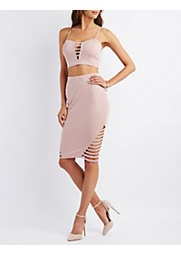 Caged Ponte Pencil Skirt