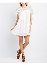 Crochet Yoke Shift Dress