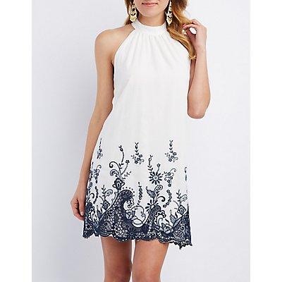 Floral Crochet-Trim Shift Dress