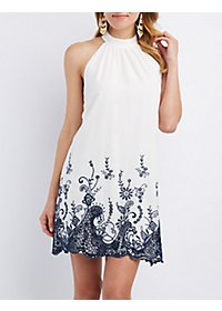 Floral Crochet-Trim Shift Dress