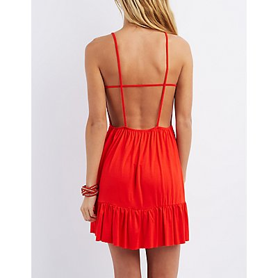 Strappy Open Back Skater Dress