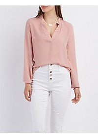 Mandarin Collar Pullover Top