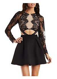 Cut-Out Lace Skater Dress