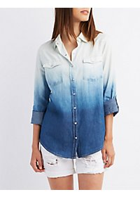 Ombre Chambray Button-Up Shirt