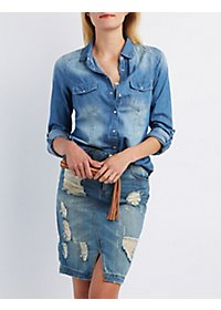 Brushed Button-Up Chambray Shirt