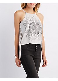 Fringed Faux Suede Medallion Tank