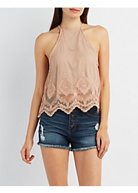 Bib Neck Embroidered Mesh Tank