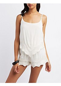 Crochet-Trim Layered Romper