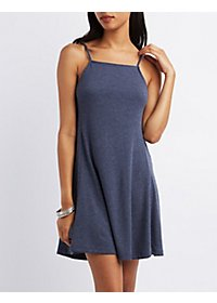 Ribbed Bib Neck Shift Dress