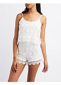 Floral Lace Layered Romper