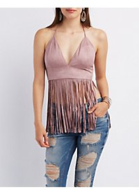 Fringed Faux Suede Halter Top