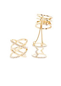 Caged Rhinestone & Chain Rings - 2 Pack