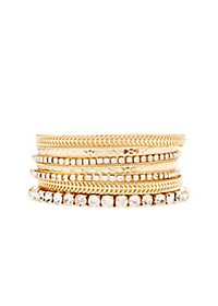 Textured & Diamante Bangle Bracelets - 7 Pack