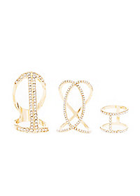 Caged Rhinestone Stackable Rings - 3 Pack